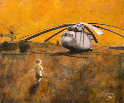 Татьяна Казакова. Вертолёт. 2020 год. Холст на оргалите. 25х30 см. Цена - 6000 руб.