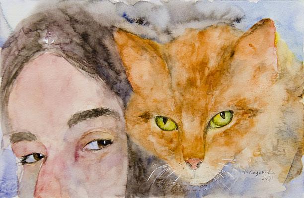 Татьяна Казакова. Человек и кошка. 2021 год. Бумага акварельная, акварель. 20х30 см. Цена - 1000 руб.