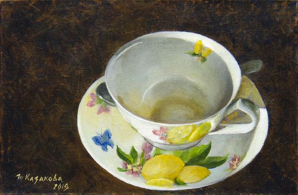 Татьяна Казакова. Милая чай допила... 2019 год. Холст, масло. 20х30 см. Цена - 4800 руб.