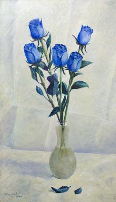 Татьяна Казакова. Синие розы или Roses Bleues. 2020 год. Оргалит, масло. 75х44 см. Цена - 26000 руб.