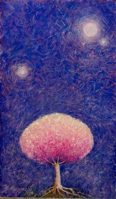 Татьяна Казакова. Дерево и две луны. 2015 год. Оргалит, масло. 51х30 см. Цена - 15000 руб.