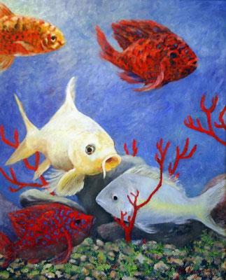 Татьяна Казакова. Рыбки. 2004 год. Оргалит, масло. 55х45 см. Цена - 10000 руб.