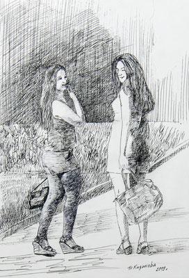 Татьяна Казакова. Девчонки (гелевая ручка)