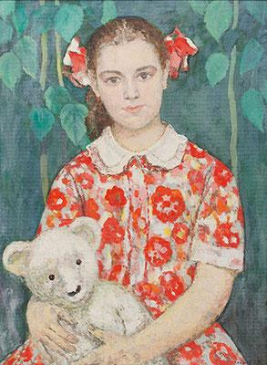 Венир Кныжов.  Девочка с мишкой, 72х53 см.
