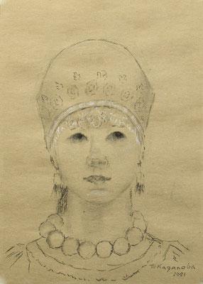 Татьяна Казакова. Девушка в русском костюме