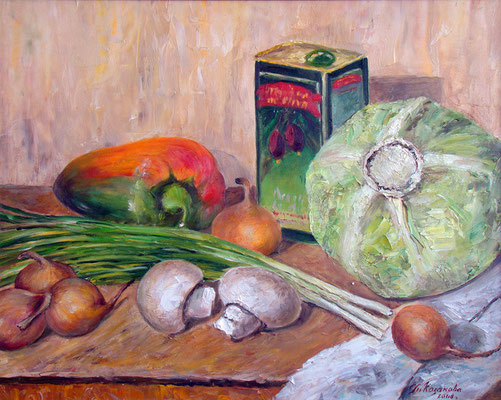 Татьяна Казакова. Готовьте овощи на оливковом масле. 2008 год. Оргалит, масло. 40х50 см. Цена - 7000 руб.