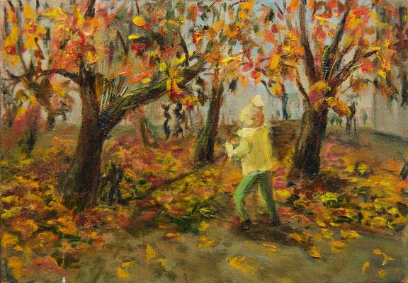 Татьяна Казакова. Осенний сад. 2001. Картон, масло. 16,8х24,2 см. Цена - 1400 руб.