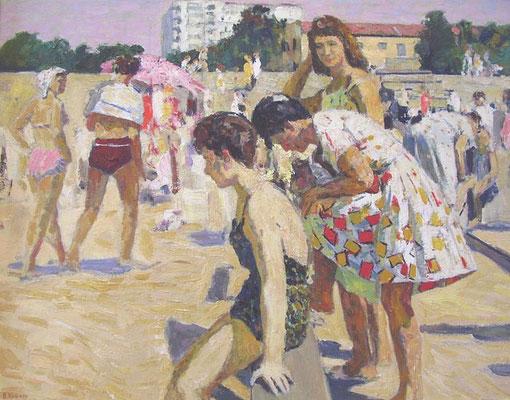 "Venir Romanovich Knyzhov, Sunny Day, Bathers (1953), oil on card, 20"" x 26"" (Солнечный день, купальщицы, картон, масло, 50 х 65 см)"
