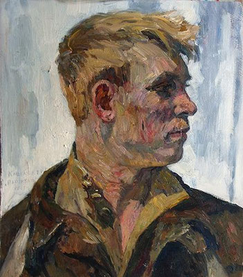 Venir Knyzhov, Partisan, Study, Illustration board, oil, 40.00 x 35.00 cm, 1965 (Партизан, этюд картон, масло, 40 х 35 см)