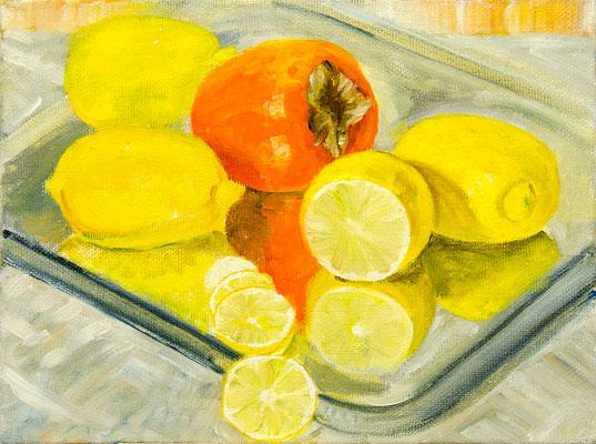 Татьяна Казакова. Хурма и лимоны. 2010 год. Холст, масло. 30х40 см. Цена - 9600 руб.