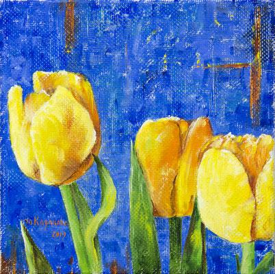 Татьяна Казакова. Тюльпаны мая. 2019 год. Холст, масло. 25х25 см. Цена - 3000 руб.