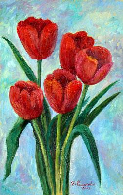 Татьяна Казакова. Алые тюльпаны. 2009 год. Оргалит, масло. 40х25 см. Цена - 4500 руб.