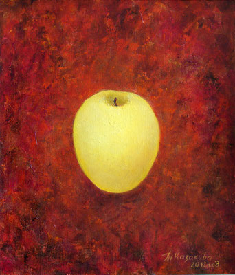 Татьяна Казакова. Золотое яблоко. 2013год. Холст на картоне, масло. 40х35 см. Цена - 11000 руб.