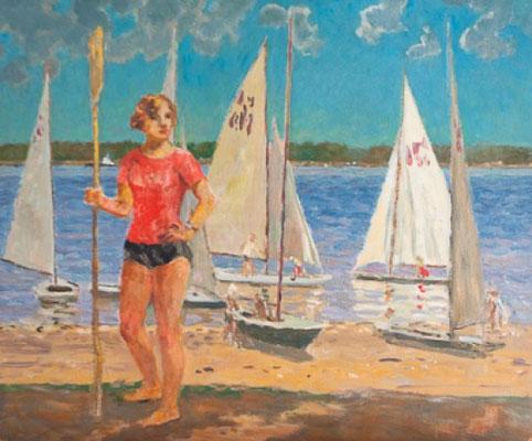 Венир Кныжов. После заплыва, 45х54,5 см, 1970.