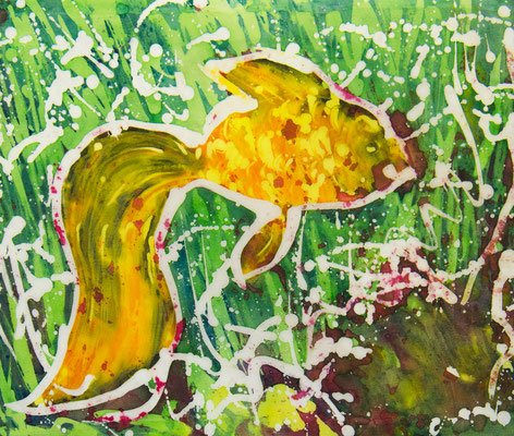 Татьяна Казакова. Рыбка золотая. 2010 год. Шёлк, горячий батик. 25х30 см. Цена - 5400 руб.
