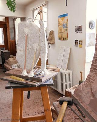 Moulage préparatoire réalisé par Vincent, sculpteur aux ateliers de la Fondation de l'Oeuvre Notre-Dame (Strasbourg)