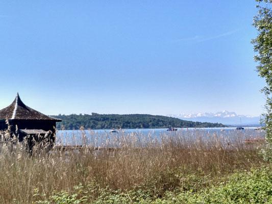 Blick über den See bis zu den Alpen