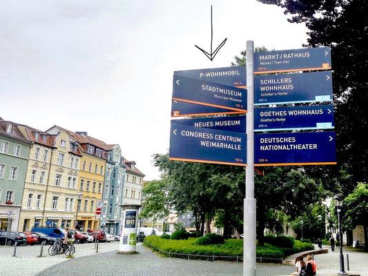 Hinweis auf den Parkplatz für Wohnmobile zwischen den Sehenswürdigkeiten der Stadt