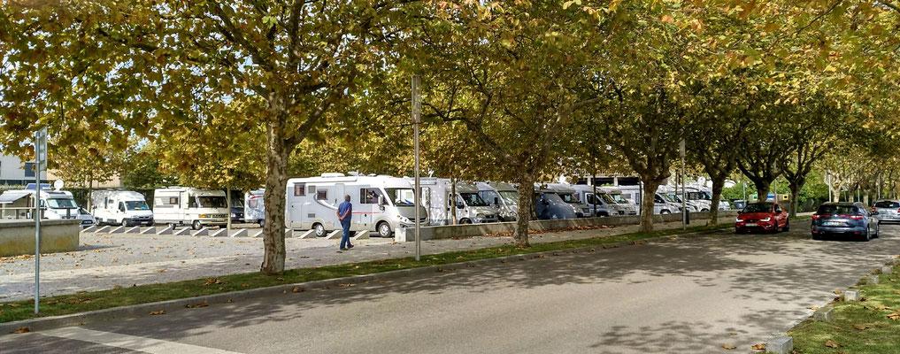 der offizielle Parkplatz für Wohnmobile mit schattigen Plätzen