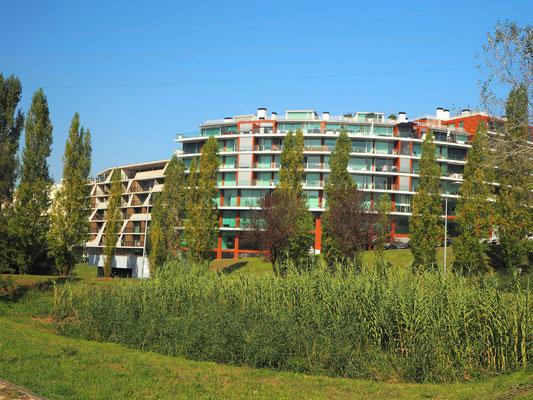 ... viel Grün zwischen den modernen Neubauten