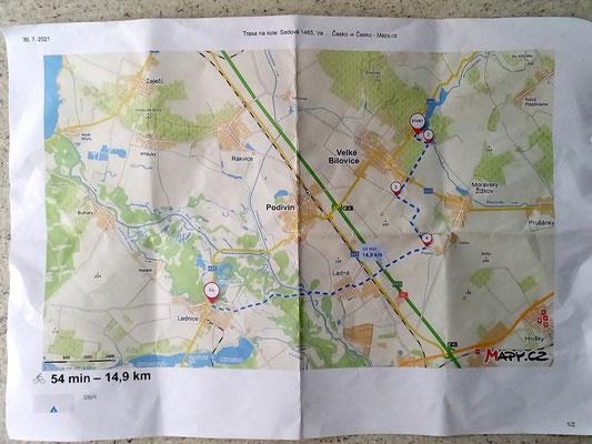 unsere 2. Fahrradtour führte uns anhand dieses Plans nach Lednice, siehe Artikel oben