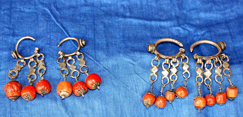 Aancient berber earrings, coral, silver,  Anti-Atlas