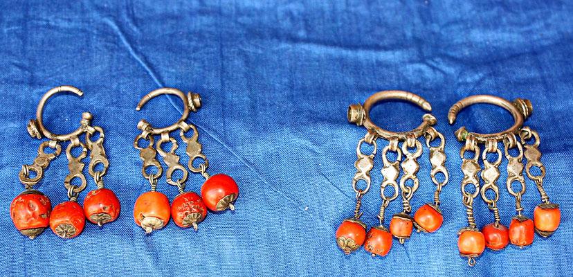 Boucles d'oreilles anciennes, corail, argent, Anti-Atlas