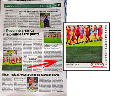 "PUBLISHED ON "" LA VOCE DI ROMAGNA"" FOR RAVENNA FOOTBALL"