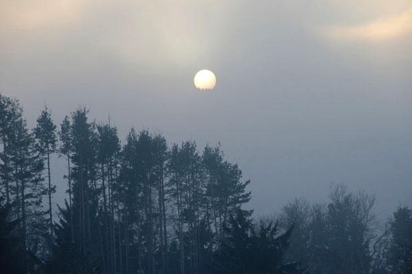 Couché de soleil dans le brouillard