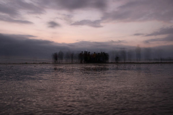 Groupe de pêcheurs en fin de journée