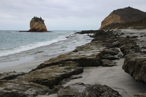 Los frailes, de jolies plages réputées en Ecuateur. Celle-ci interdite à la baignade