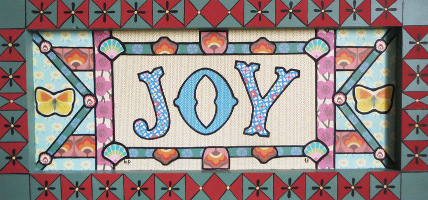 Joy, 2013, cm48.5x23. Collage and acrylic paint on wood. The picture has an handmade wooden frame painted by myself.