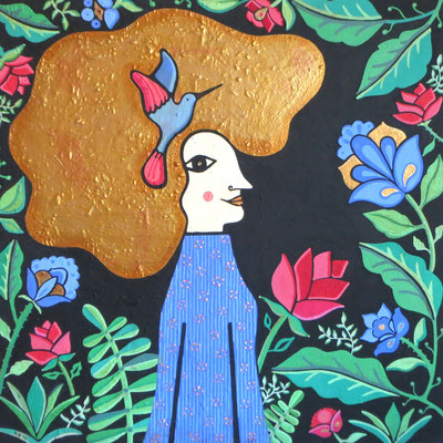 The Bohemian Priestess, 2014, cm100x100. Acrylic paint and natural pigments on treated canvas. Unframed.
