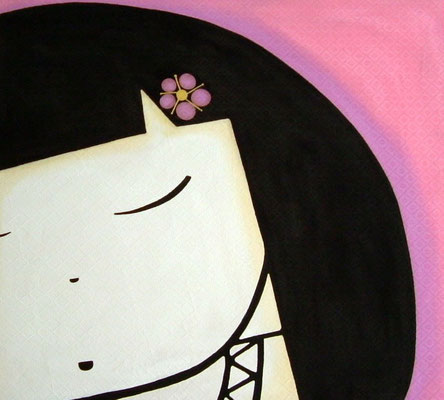 Japanese doll, 2008, cm90x101. Acrylic paint on textured canvas. Unframed.