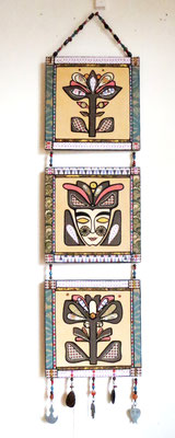 The queen of flowers, 2015, cm30x125, mixed media on wood with semi precious stones and metal pendants from Marrakech.