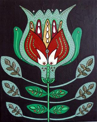 Flower, 2008, cm33.5x41.5. Acrylic paint on canvas. Unframed.