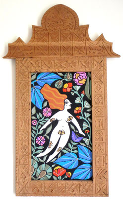 Floating, 2015, cm50x80, Acrylic paint and natural pigments on wood. Hand carved cedarwood frame from Marrakech.