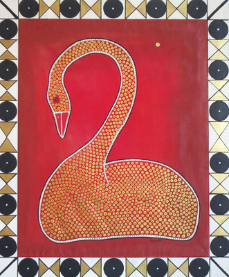 Il cigno, 2006, cm64.5x78. Acrylic paint on canvas. The picture has an handmade wooden frame hand painted by myself.