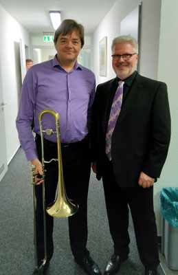 Thomas Lindt mit Walter Hoeks (Solo-Posaunist Brass Band Willebroek)