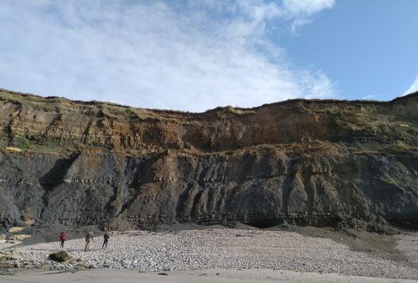 Das abgerutschte Material wird von Regen und Wellen abgetragen. Wirft man einen Stein hinein, versinkt er einfach und verschwindet.