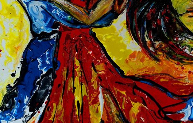 Tango Salsa Tänzer Bild handgemalt - Tanzbild Tanz Kunst Malerei Wandbild Acrylbild
