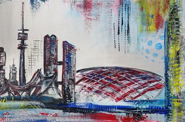 München Skyline abstrakt gemalt Kunstbild Leinwandbild Acryl Gemälde