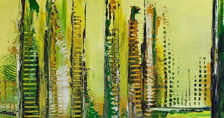 Grüne Lunge abstraktes Wandbild grün