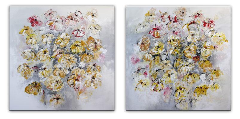 Blumenbild zweiteilig abstrakt frau rot gelb xxl - beide Blumengemälde