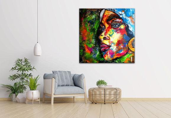 Romy abstraktes Frauengesicht handgemalt Porträt Malerei Acrylbild Original Gemälde