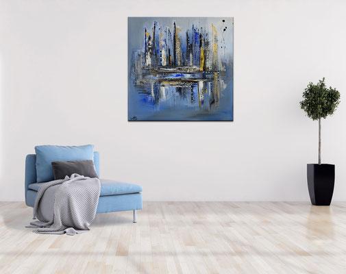 Diamont City 80x80 abstrakte Wandkunst Malerei Bild blau gold Gemälde Acrylbild handgemalt