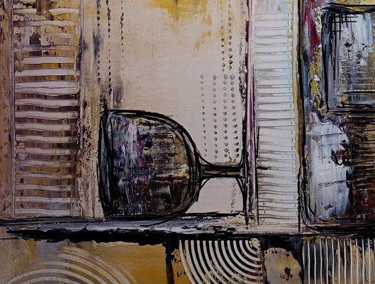 Wein Gläser Flasche abstrakt handgemalt 70x100 Original Kunst Bild