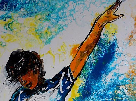 Abstoß Fußballspieler Original Gemälde handgemaltes Acryl bild Fluid Art 60x90