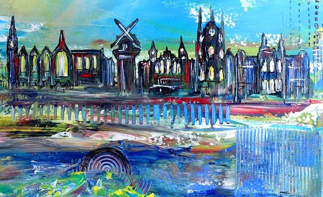 Amsterdam abstraktes Wandbild Leinwandbild Original Unikat Acrylgemälde Malerei