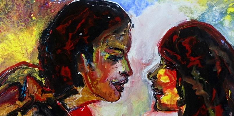 Frauenliebe Liebespaar Akt Malerei Frauen zärtlich Erotisches Gemälde